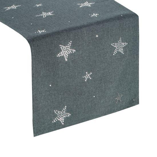 Grafitowy świąteczny bieżnik w gwiazdki 33x140 cm - 33 X 140 cm - Grafitowy
