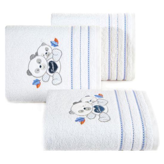 Ręcznik dziecięcy kąpielowy misie biały niebieski 50x90 - 50 X 90 cm - biały