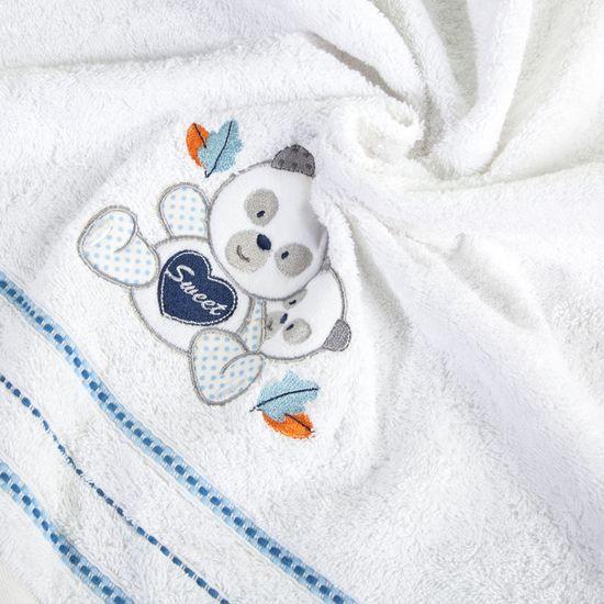 Ręcznik dziecięcy kąpielowy misie biały niebieski 70x140 - 70x140 - biały / niebieski