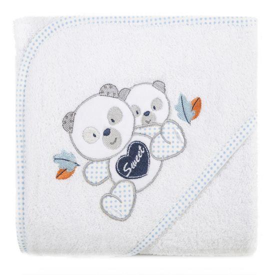 Ręcznik dziecięcy kąpielowy z kapturem misie biały niebieski 75x75 - 75 X 75 cm - biały