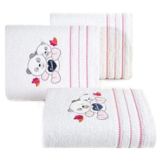 Ręcznik dziecięcy kąpielowy misie biały różowy 70x140 - 70 X 140 cm