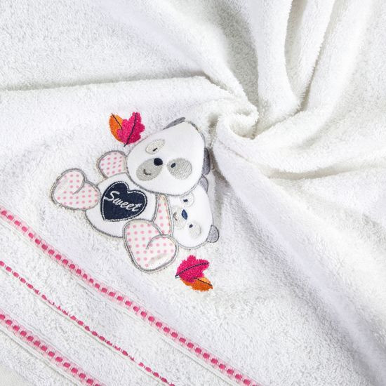 Ręcznik dziecięcy kąpielowy misie biały różowy 70x140 - 70 X 140 cm - biały