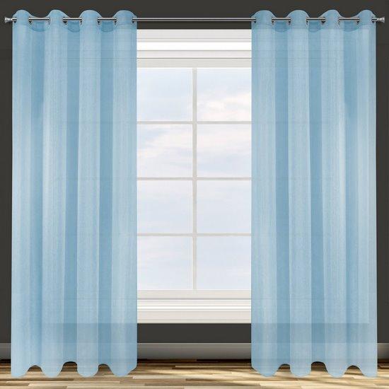 Zasłona niebieska struktura deszczyku przelotki 140x250 cm - 140 X 250 cm