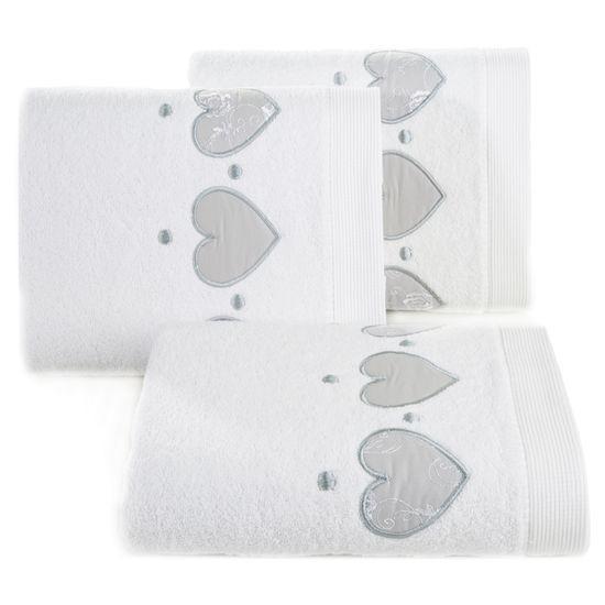 Miękki chłonny ręcznik kąpielowy biały z serduszkami 70x140 - 70 X 140 cm