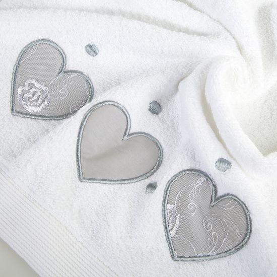 Miękki chłonny ręcznik kąpielowy biały z serduszkami 70x140 - 70 X 140 cm - biały