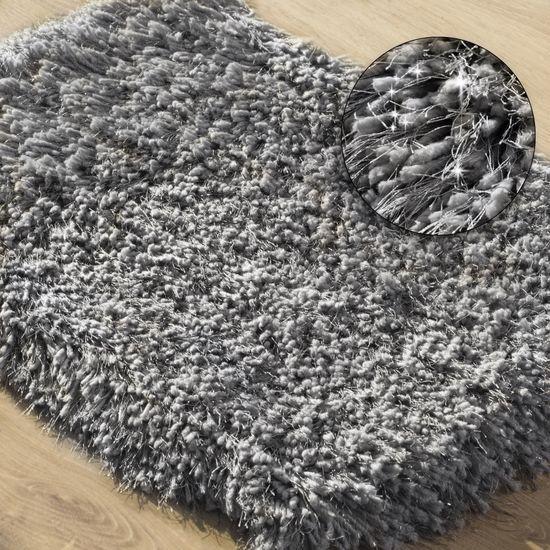 Ozdobny dywanik z błyszcząca nicią stalowy szary 50x70 cm - 50x70