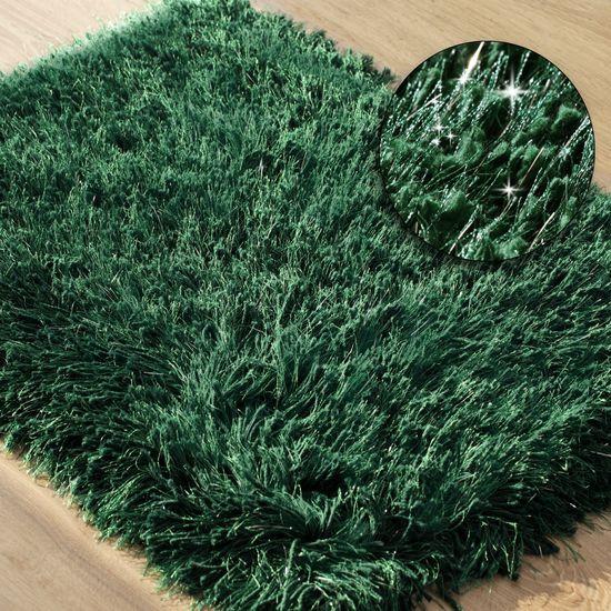 Ozdobny dywanik z błyszcząca nicią zielony 60x90 cm - 60 X 90 cm - ciemno zielony