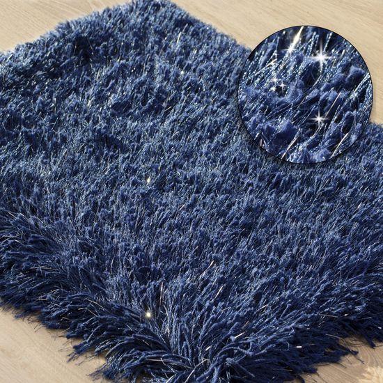 Ozdobny dywanik z błyszcząca nicią granatowy 50x70 cm - 50 X 70 cm