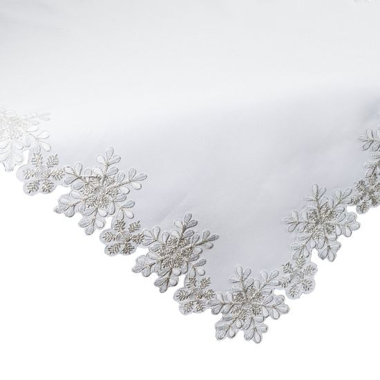 Biały haftowany obrus z płatkami śniegu 85x85 cm - 85 X 85 cm