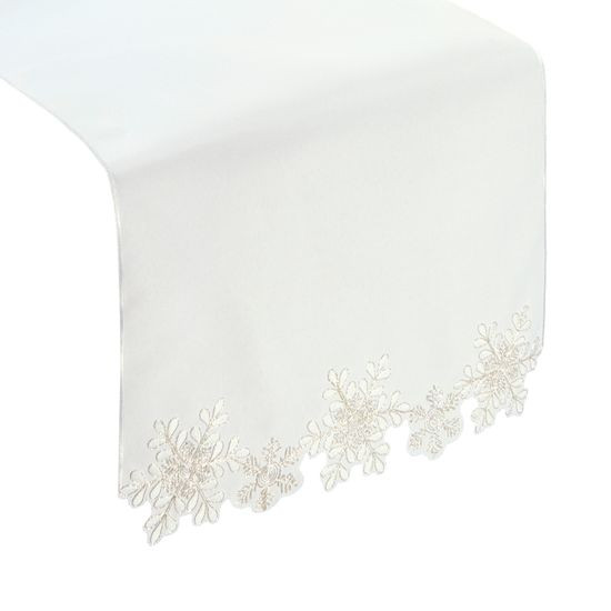 Biały haftowany bieżnik z płatkami śniegu 40x140 cm - 40 X 140 cm - biały