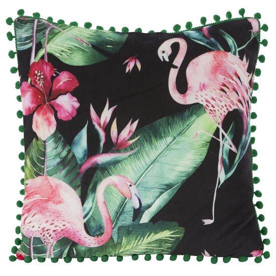 Poszewka modny wzór we flamingi z pomponikami 45x45 cm - 45 X 45 cm - czarny/różowy