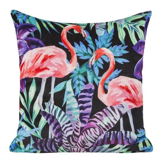 Welwetowa poszewka z egzotycznym motywem flamingów 45x45 cm - 45 X 45 cm - czarny/różowy/fioletowy