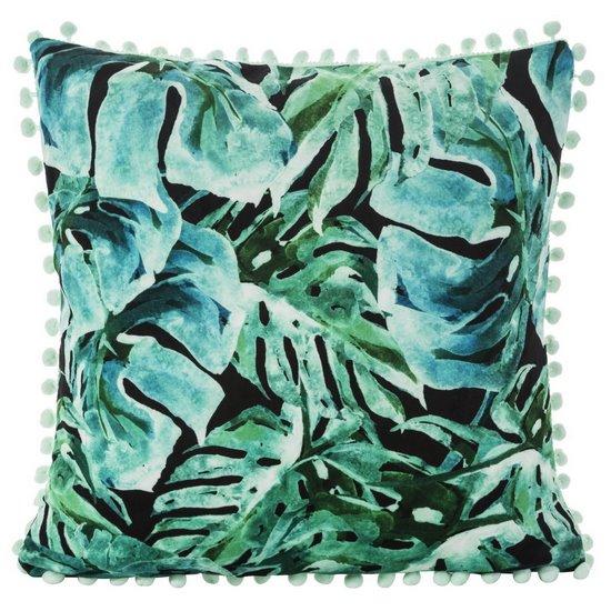 Poszewka z miękkiej tkaniny welwetowej z motywem roślinnym 45x45 cm - 45 X 45 cm - zielony/turkusowy/czarny
