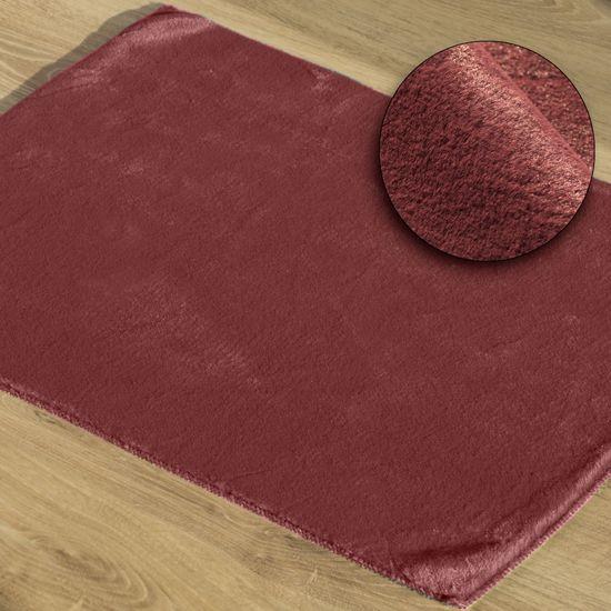 Gładki dywanik łazienkowy bordowe futerko 50x70 cm - 50 x 70 cm