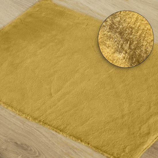 Gładki dywanik łazienkowy musztardowe futerko 50x70 cm - 50 x 70 cm