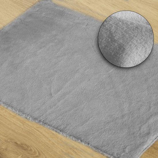 Gładki dywanik łazienkowy srebrny futerko 50x70 cm - 50 x 70 cm