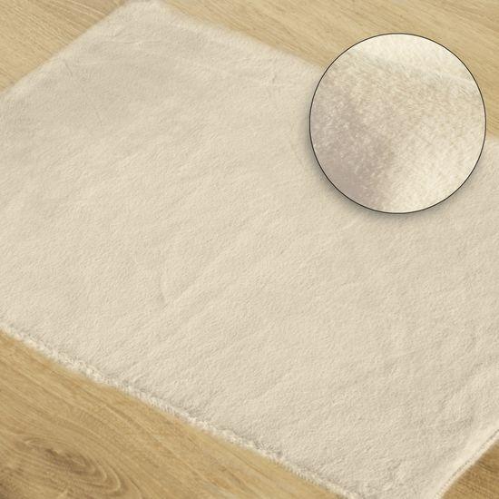 Gładki dywanik łazienkowy kremowe futerko 60x90 cm - 60 x 90 cm