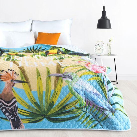 BIRDS pikowana narzuta na łóżko motyw ptaków 200x220 cm Design91 - 200x220 - niebieski, zielony, żółty
