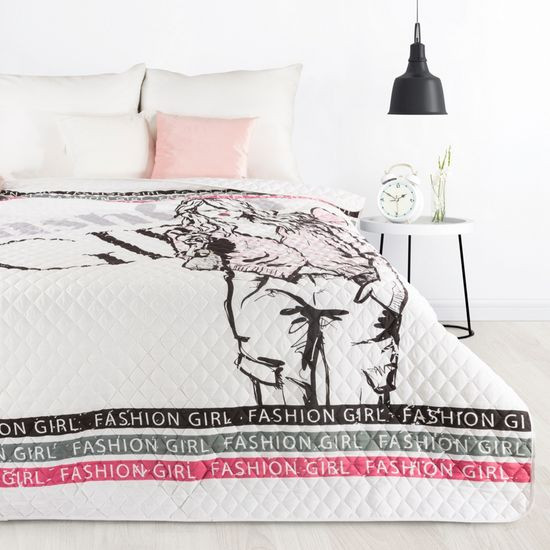 Młodzieżowa narzuta z modną grafiką 170x210 cm - 170x210 - Biały / Różowy