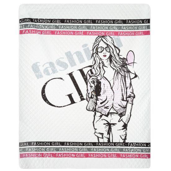 Młodzieżowa narzuta z modną grafiką 200x220 cm - 200x220 - Biały / Różowy