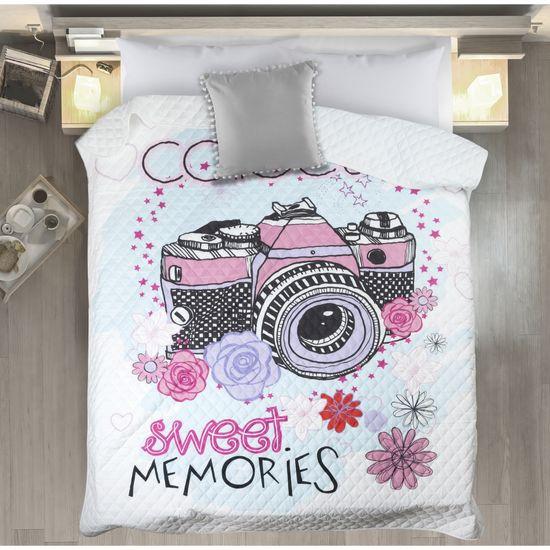 Sweet narzuta na łóżko młodzieżowa od Design 91 200x220 cm - 200 X 220 cm - biały/czarny/błękitny/różowy