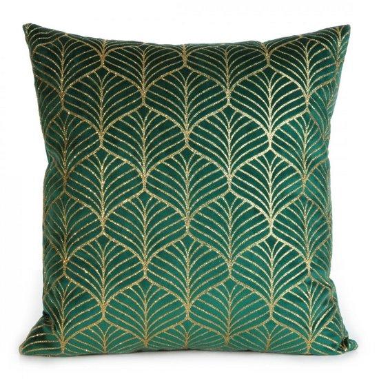 Zielona POSZEWKA WELWETOWA z geometrycznym złotym wzorem 45x45 cm - 45x45 - zielony, złoty