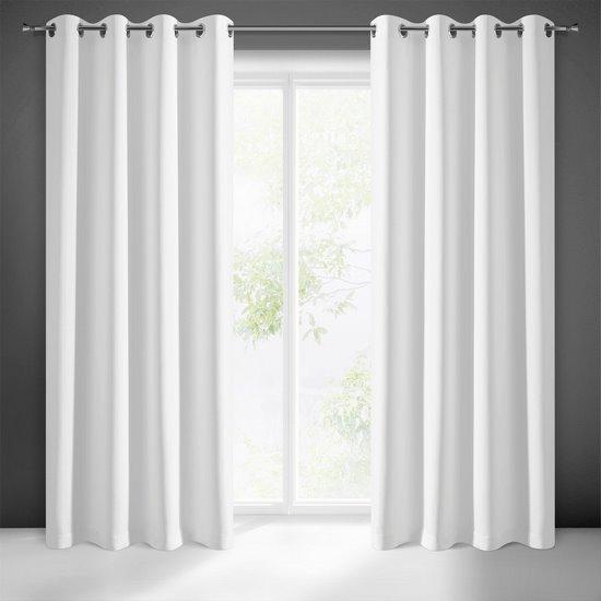 Gładka zasłona zaciemniająca biała 135x250 na przelotkach - 135x250 - biały