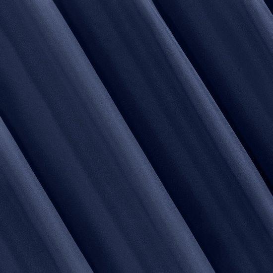 Granatowa gładka zasłona z matowej satyny 140x250 przelotki - 140x250