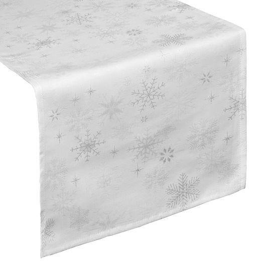 BIEŻNIK biały w płatki śniegu piekny 35x140 cm - 35x140