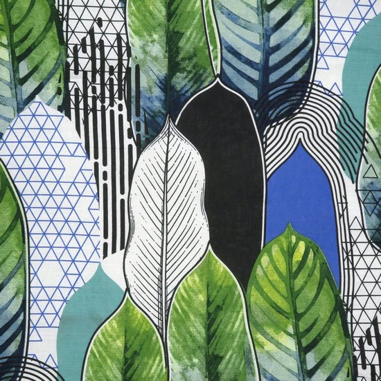 Komplet pościeli bawełnianej BENITA 200x220 2szt 70x80 styl nowoczesny - 220x200 - zielony, biały, czarny, niebieski