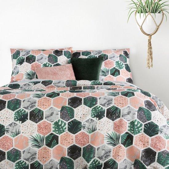 Komplet pościeli bawełnianej summer 160x200 2szt 70x80 styl nowoczesny - 160x200 - biały, różowy, zielony, czarny