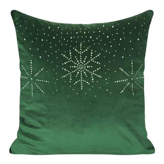 Poszewka welwetowa z kryształami i śnieżynkami 45x45 cm zielona - 45x45 - Zielony