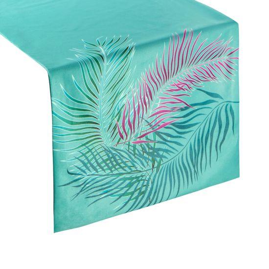 Turkusowy bieżnik welwetowy z motywem roślinnym 35x180cm - 35 X 180 cm