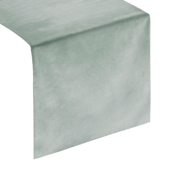 Srebrny szary bieżnik z welwetu do jadalni 35x140 cm - 35 X 140 cm