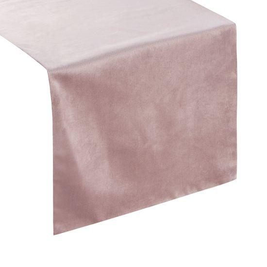 Pudrowy różowy bieżnik z welwetu do jadalni 35x140 cm - 35 X 140 cm