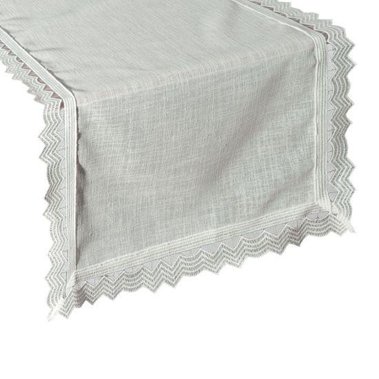 Biały bieżnik z kolekcji Premium z koronką 35x140 cm - 35 X 140 cm - biały