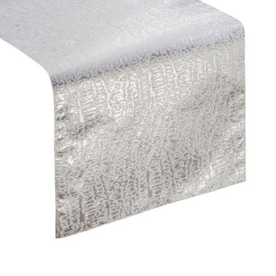Biały bieżnik na stół ze srebrnym wzorem 35x140 cm - 35 X 140 cm