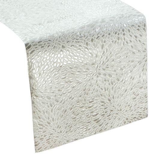 Srebrny BIEŻNIK DO JADALNI czysta bawełna 35x140 cm - 35x140 - Srebrny
