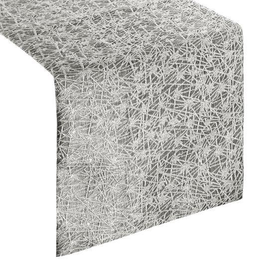 Stalowy szary srebrny bieżnik na stół 35x140 cm - 35 X 140 cm - srebrny