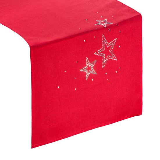 Czerwony BIEŻNIK ŚWIĄTECZNY z choinką z cyrkonii 40x140 cm - 40 X 140 cm - czerwony