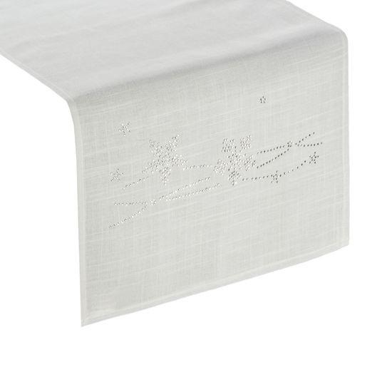 Dekoracyjny bieżnik cekiny płatki śniegu 40x140cm - 40 X 140 cm - Biały