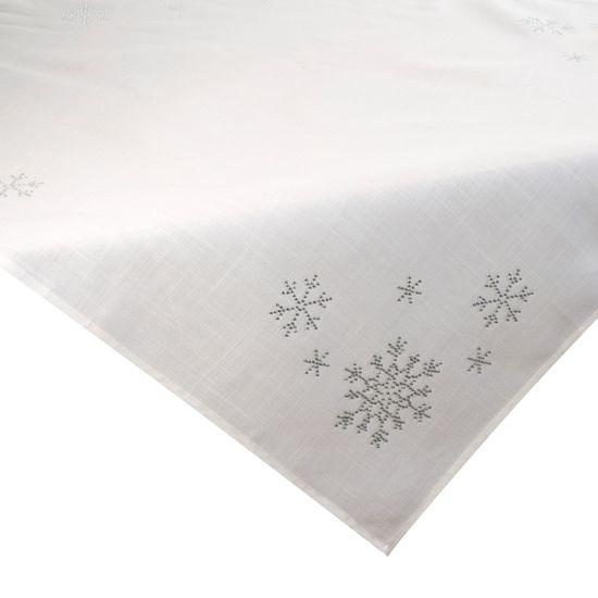 Kremowy obrus świąteczny z kryształkami 85x85 cm - 85 X 85 cm - Kremowy