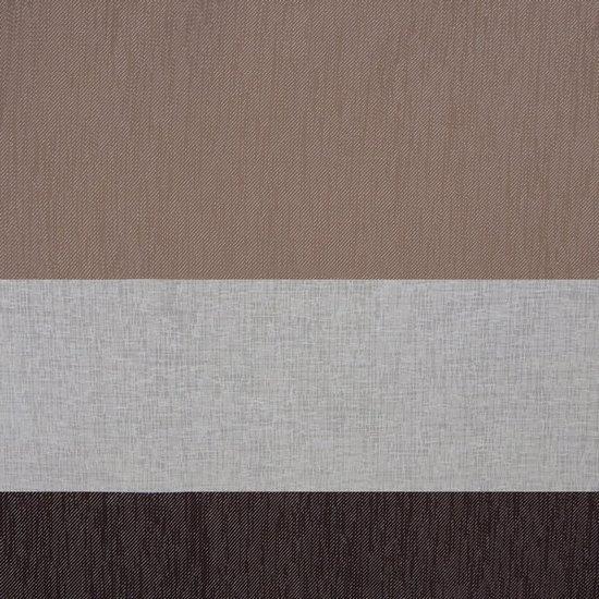 Zasłona Pasy W Górnej Części Biały Brązowy Przelotki 140X250Cm - 140x250 - biały / brązowy