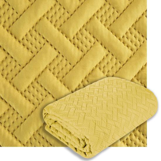 Elegancka musztardowa pikowana narzuta geometryczny wzór 220x240 cm - 220 X 240 cm