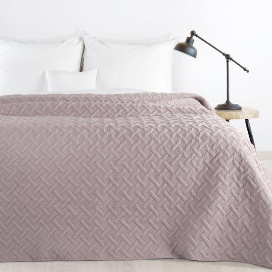 Elegancka pikowana narzuta w kolorze pudrowego różu geometryczny wzór 170x210 cm - 170 X 210 cm