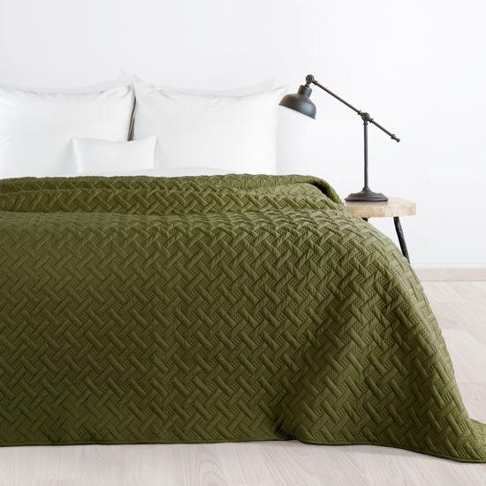 Elegancka oliwkowa pikowana narzuta geometryczny wzór 170x210 cm - 170 X 210 cm - oliwkowy