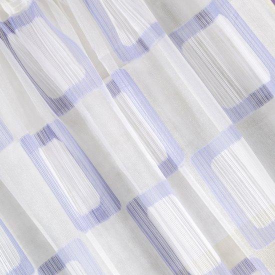 Zasłona w kratkę kremowa fioletowa na przelotkach 140x280cm - 140 X 280 cm