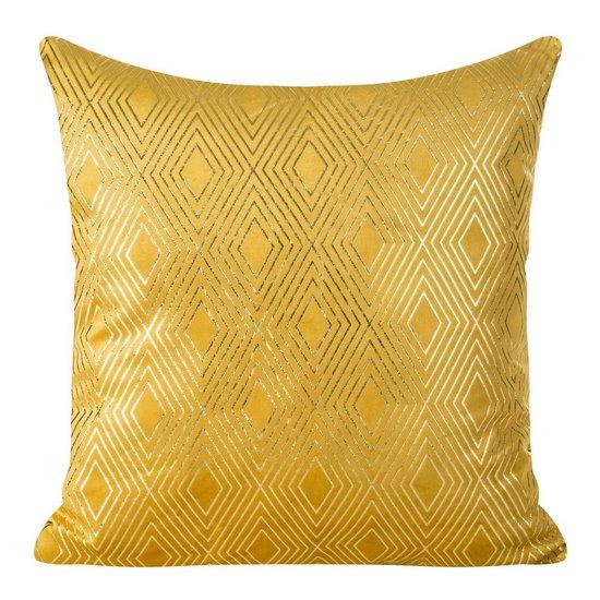Poszewka z musztardowego welwetu ze złotym wzorem 45x45 cm - 45 X 45 cm - musztardowy/złoty