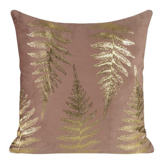 Ozdobna różowa poszewka z motywem złotych paproci 45x45 cm - 45 X 45 cm - pudrowy/złoty