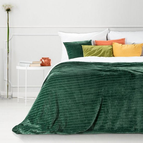 Cindy miękki koc z mikroflano zielony 150x200 cm Design 91 - 150 X 200 cm
